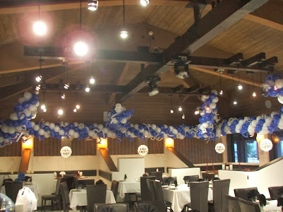 Ceiling drape with balloons garlands