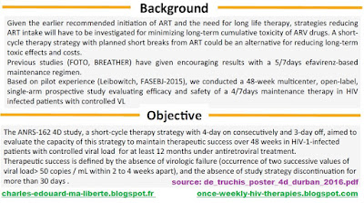 Leibowitch ANRS162-4D NCT02157311 hiv failure trial long-term cumulative toxicity of ARV drugs