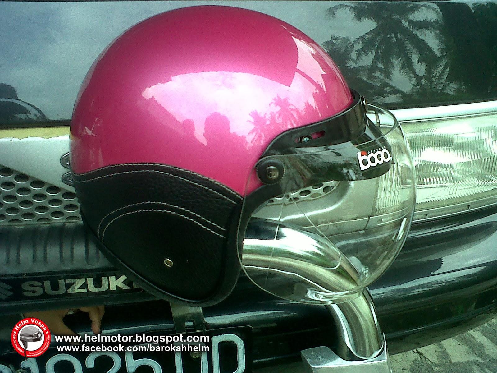 Helm Vespa Bogo Pink Shinny  Helm Vespa