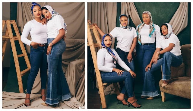 Check out the Lovely photos of actress, Rahama Sadau, and her adorable sisters
