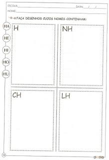Atividade alfabetização letra H