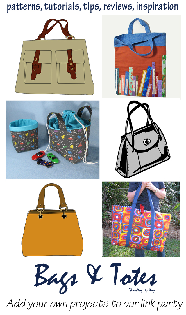 Bags and Totes Ongoing Link Party. A resource of bag patterns, free tutorials, with lots of ideas and inspiration for making your own bag ~ Threading My Way