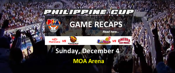 List of PBA Game(s) Sunday December 4, 2016 @ MOA Arena