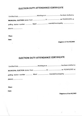 Election duty attendance certificate for municipal elections