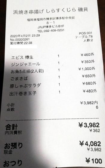浜焼き串揚げ角打ち しらすくじら 2020/4/2 飲食のレシート