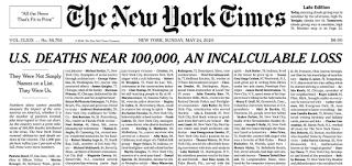 نيويورك تايمز تخصص صفحتها الأولى لأسماء ضحايا كورونا: ليسوا مجرد أرقام