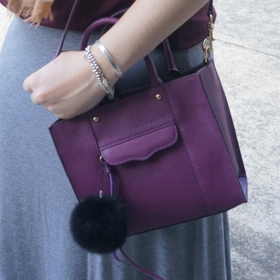 AwayFromTheBlue | Rebecca MInkoff plum purple mini MAB tote bag faux fur pom pom charm