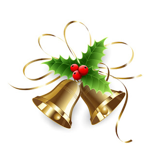 Clipart image of gold Christmas bells with holly