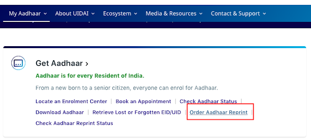 order aadhar reprint