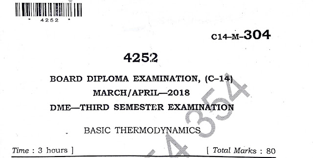 DIPLOMA BASIC THERMODYNAMICS OLD MODEL PAPER 2018