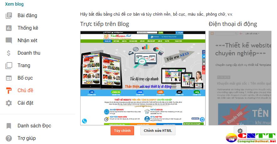tùy chỉnh template blogspot