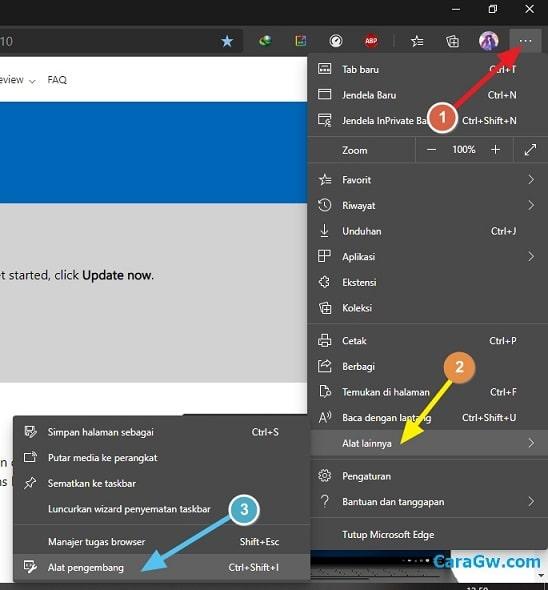 ganti user agent default Microsoft Edge