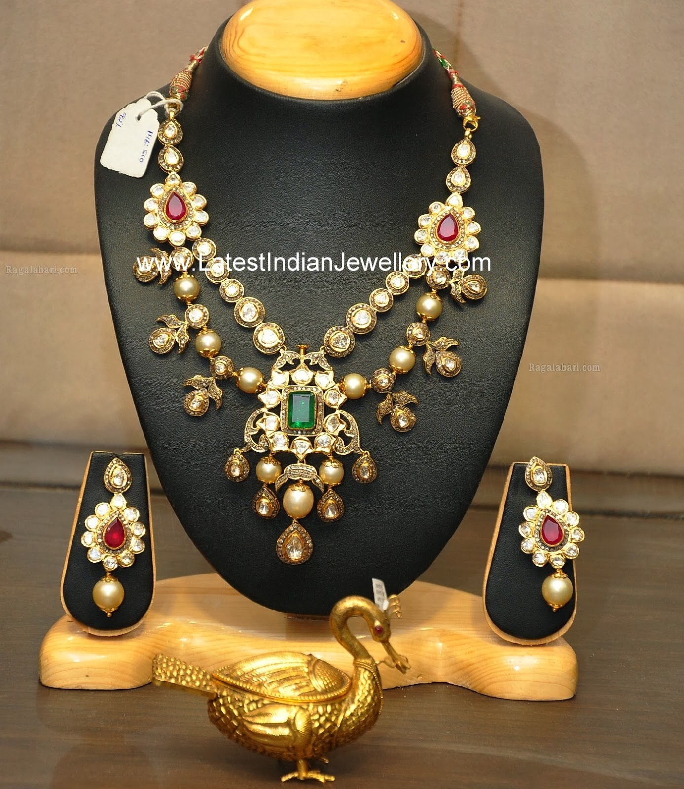 Polki Diamond Necklace with Pearls