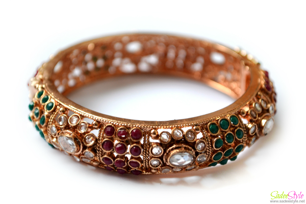 Bridal Polki Bangle with Ruby and Emerald Color Stones By Taneesha