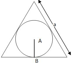 inner circle of the equilateral triangle