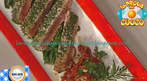 Tonno in crosta di erbe con spinaci saltati ricetta Fava da Prova del Cuoco