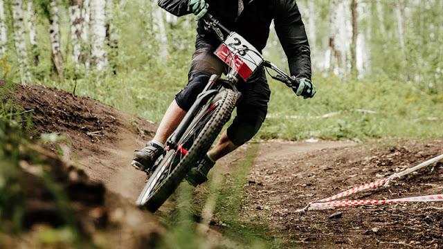 biker taking a curve