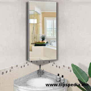 corner bathroom cabinet with mirror