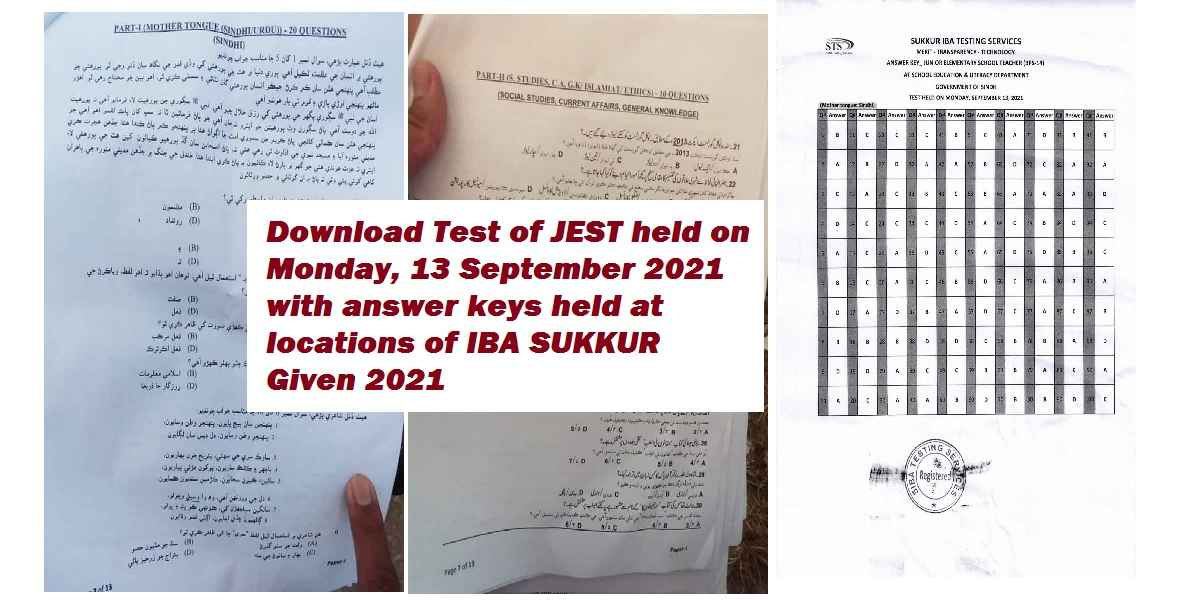 Tests of PST/JEST Conducted from 13 September 2021 to 26 September 2021 (Past Papers 2021)