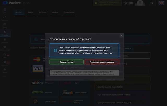 """Скриншот официального сайта """"брокера"""" бинарных опционов Pocket Option"""