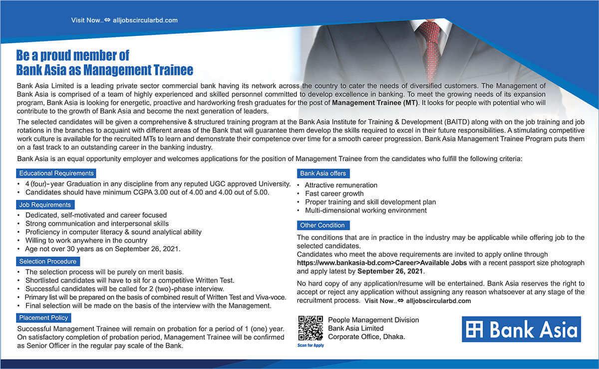 Bank Asia Limited Job Circular image 2021