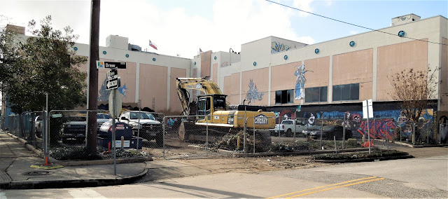 Demolition machinery ready for action on corner of Fannin Street and Drew - MHMRA Building