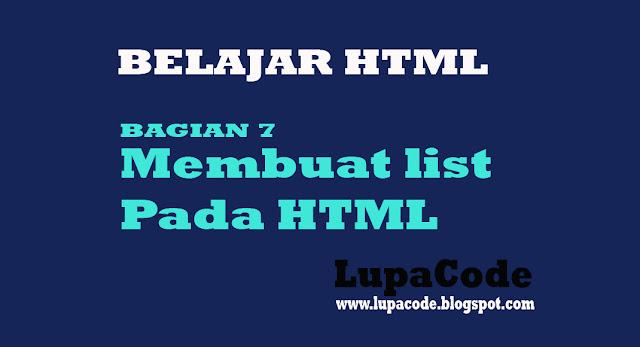 Tutorial Cara Membuat List Pada HTML