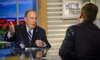 Michael Bloomberg and moderator Chuck Todd appear in a pre-taped interview on Meet the Press in Washington on 20 December. (Photograph Credit: NBC NewsWire/NBCU Photo Bank via Getty Images) Click to Enlarge.