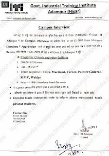 ITI Apprentice Campus Placement Drive at Govt ITI Adampur (Hisar) Haryana For Hero Moto Corp Ltd Dharuhera