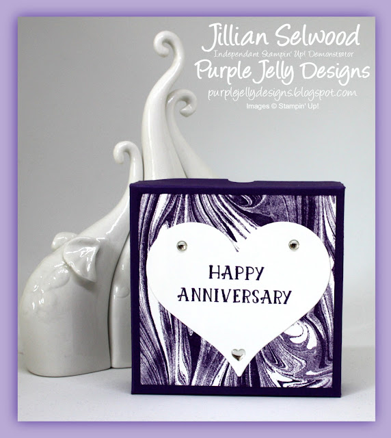 Happy Anniversary Concertina Box card, Elegant Eggplant