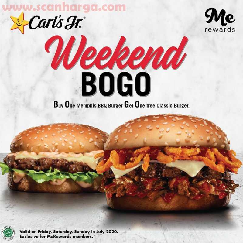 Carls Jr Weekend Promo BOGO Beli 1 Gratis 1 Edisi Juli 2020