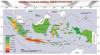 peta persebaran kepadatan penduduk di Indonesia www.simplenews.me