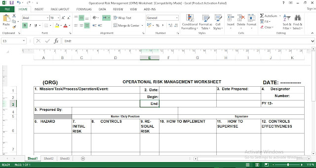 Operational Risk Management Reporting Template Excel - Free Download