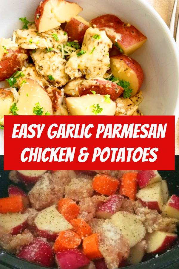 Garlic Parmesan chicken & potatoes is an easy yet comforting dish that the entire family will enjoy. Make this meal in your slow cooker or Instant Pot. #slowcooker #crockpot #instantpot