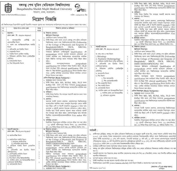 Sheikh Mujib Medical University Job Circular 2021