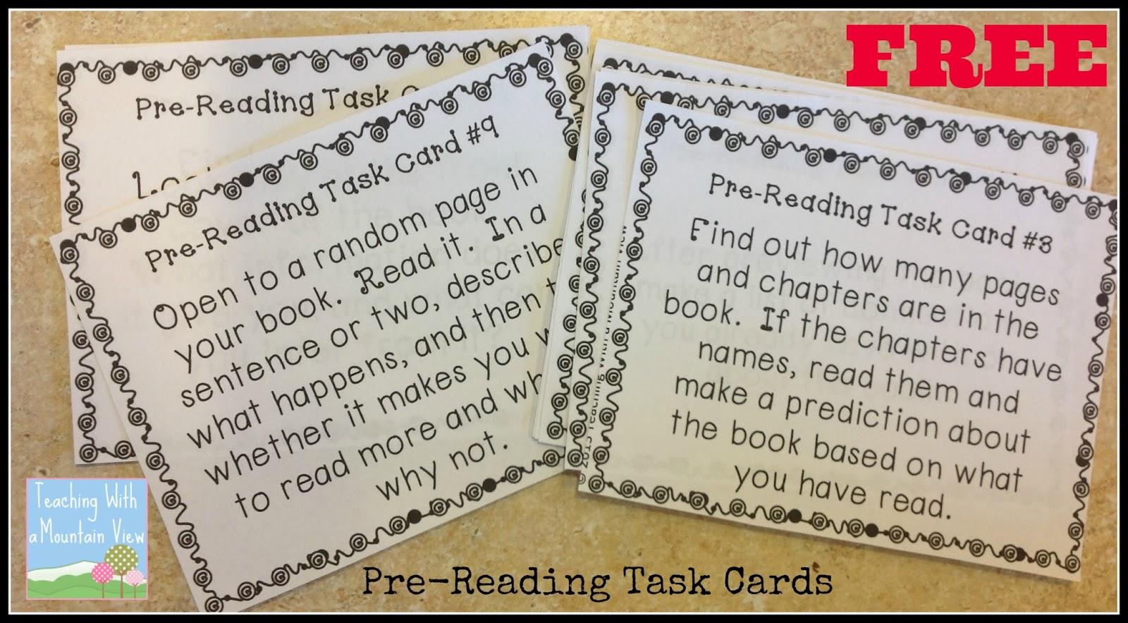 Task Card Corner Using Task Cards For Reading Response