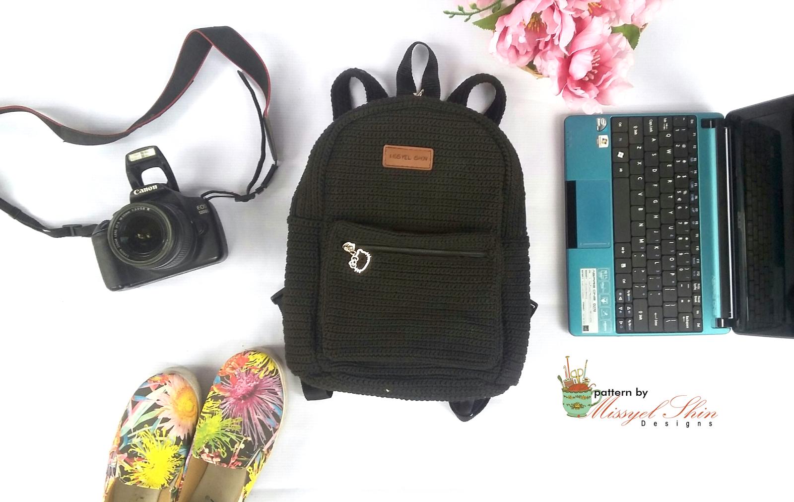 Tas Punggung Rajut Backpack Ransel Misyel Shin Wanita Backpak 3 In 1 Berukuran Sedang 30cm X 20cm 12cm Berbahan Benang Nilon Tali Bisa Di Panjang Pendekan Terdapat Kantong Didalamnya
