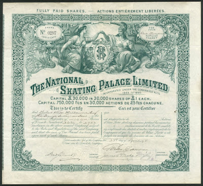 National Skating Palace share certificate
