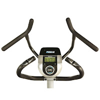 Static multi-grip handlebars with hand pulse grip heart-rate sensors, image, on ProGear 9900 HIIT Crossover Stepper Elliptical Trainer