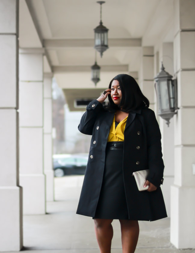 Plus SIze Black Pencil Skirt Trench Coat Outfit