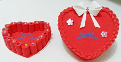 Curso caixa no formato de coração em E.V.A