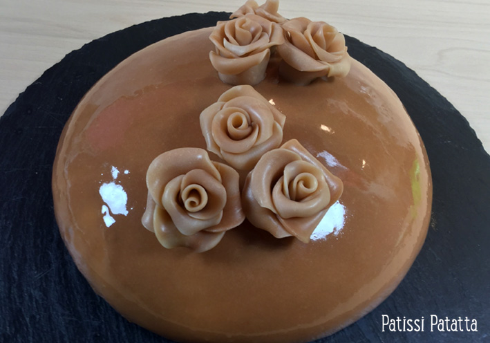 Patissi patatta entremet miroir vanille caramel for Glacage miroir caramel