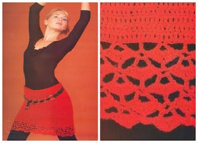 Falda corta calada en el ruedo muy flamenca