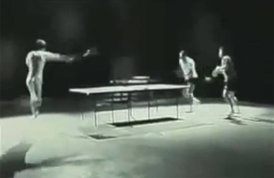 Viral ad for Nokia N96 Limited Edition phone by J. Walter Thompson showing Bruce Lee lookalike playing table tennis using nunchaku