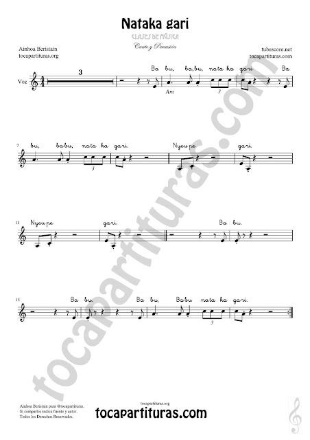 Nataka gari Partitura para cantar de Voz (sirve para flautas, violín, oboe...) con letra y acordes para clases de música en la escuela con percusión Voice sheet music for children's song Para cantar en clases de música