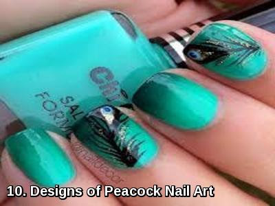 Designs of Peacock Nail Art