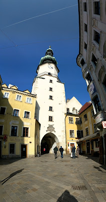 Bratislava in winter: Old Town entrance gate and tower