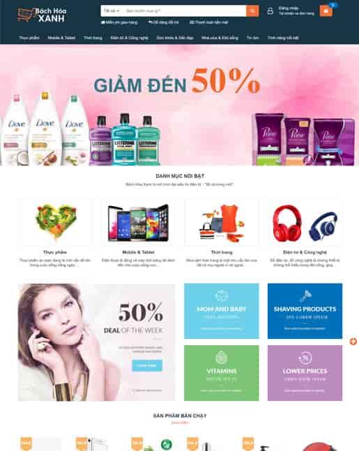Theme blogger shop bán hàng Bách Hóa Xanh