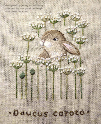 Embroidered hare is mostly complete along with flowers (Jenny McWhinney's Queen Anne's Lace)