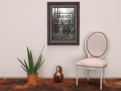 3D Wall frame mockup photoshop template